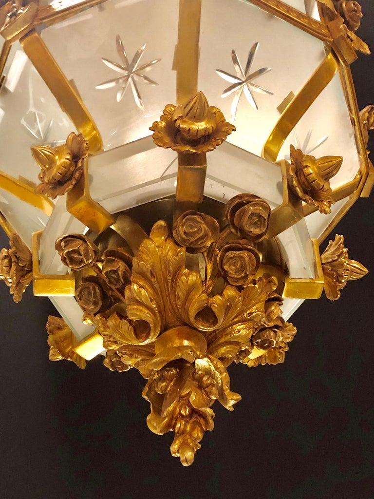 Monumental Louis XVI Style Dore Bronze Large Rams Head Lantern For Sale 9
