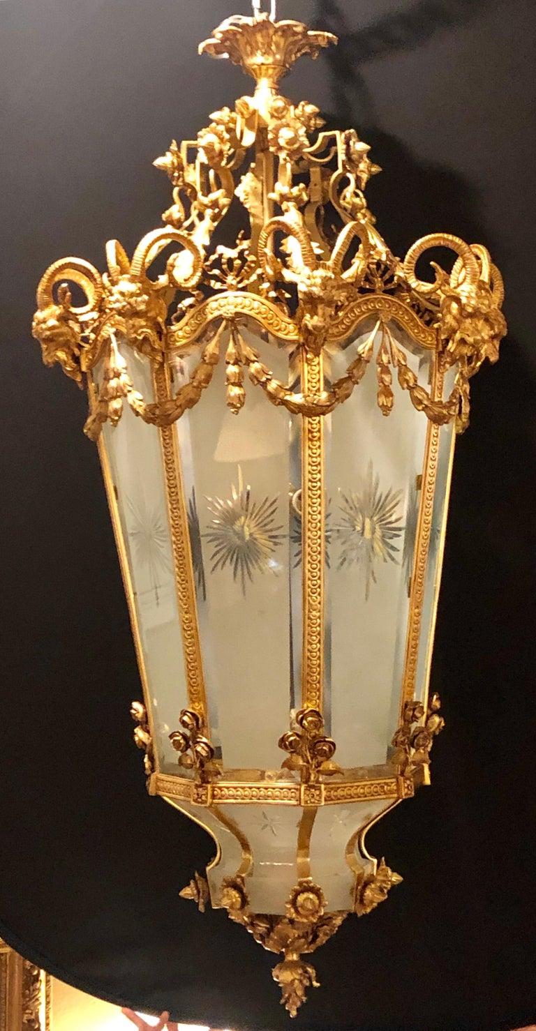 Neoclassical Monumental Louis XVI Style Dore Bronze Large Rams Head Lantern For Sale