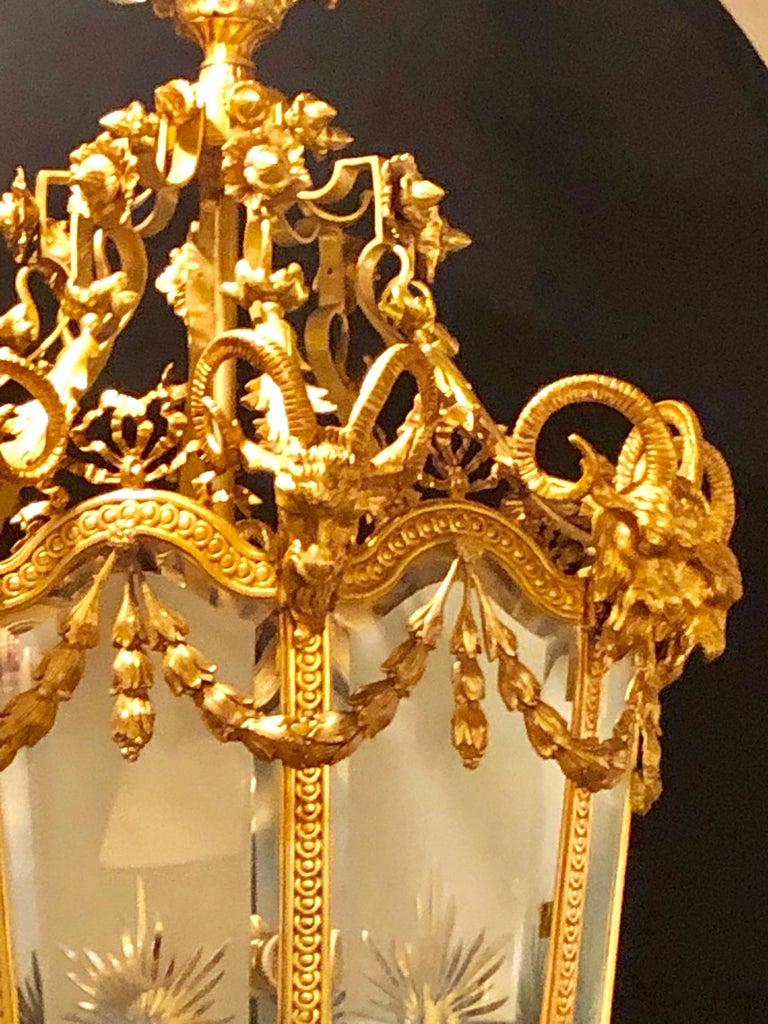 Brass Monumental Louis XVI Style Dore Bronze Large Rams Head Lantern For Sale