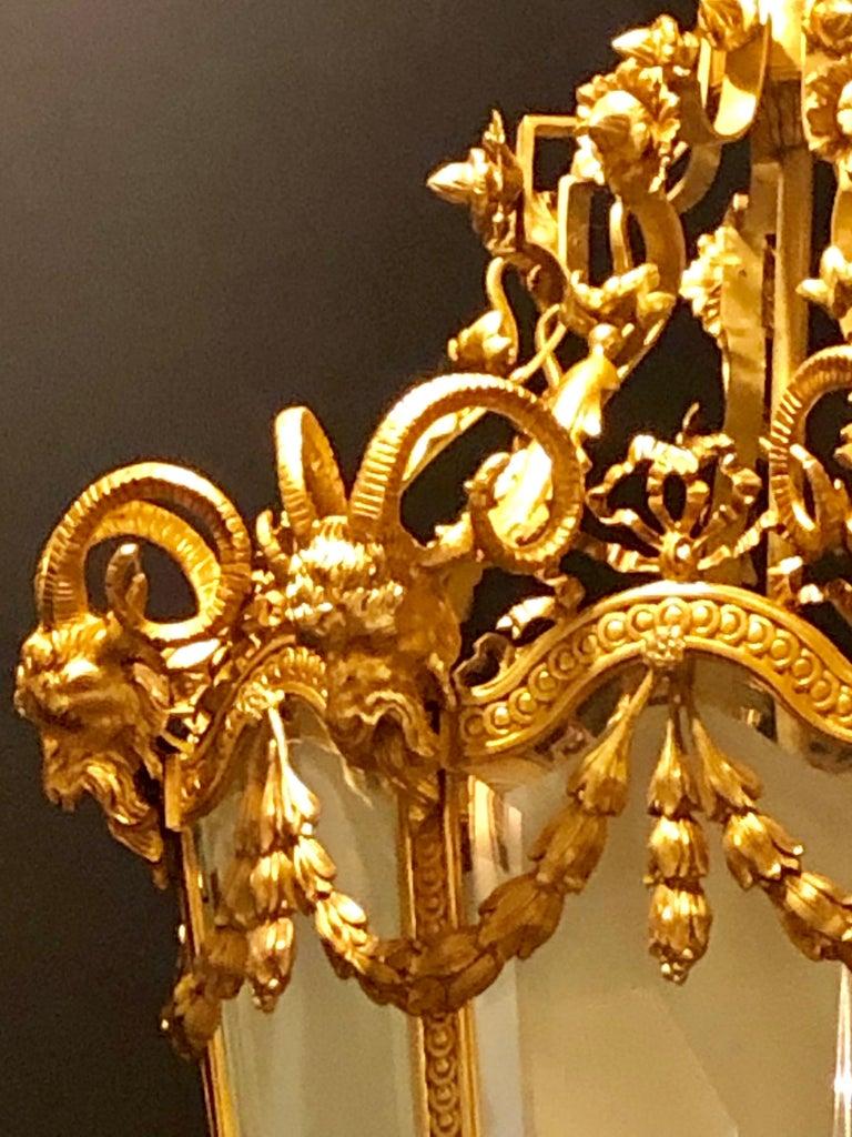 Monumental Louis XVI Style Dore Bronze Large Rams Head Lantern For Sale 1