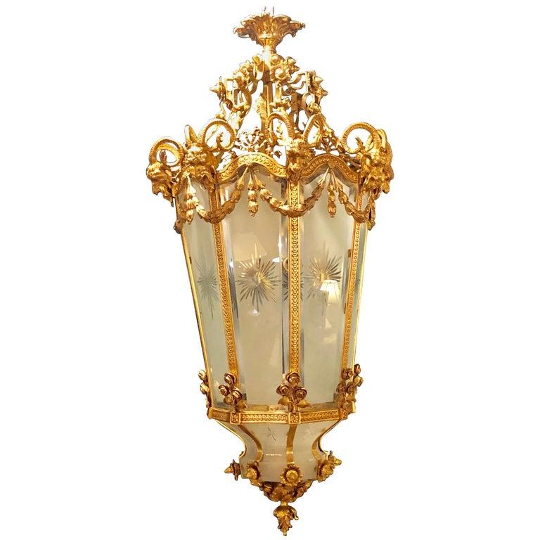 Monumental Louis XVI Style Dore Bronze Large Rams Head Lantern For Sale