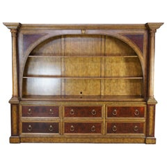Monumental Maitland Smith Neoclassical Burl Ash Library Bookcase Wall Unit