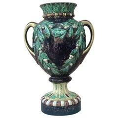 Monumental Majolica Palissy Renaissance Vase, circa 1880