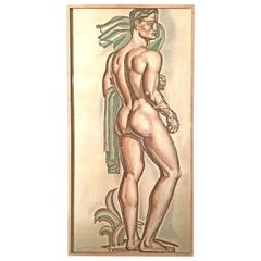 """""""Monumental Male Nude,"""" Important Study by Buthaud for Art Deco Urn for Stadium"""