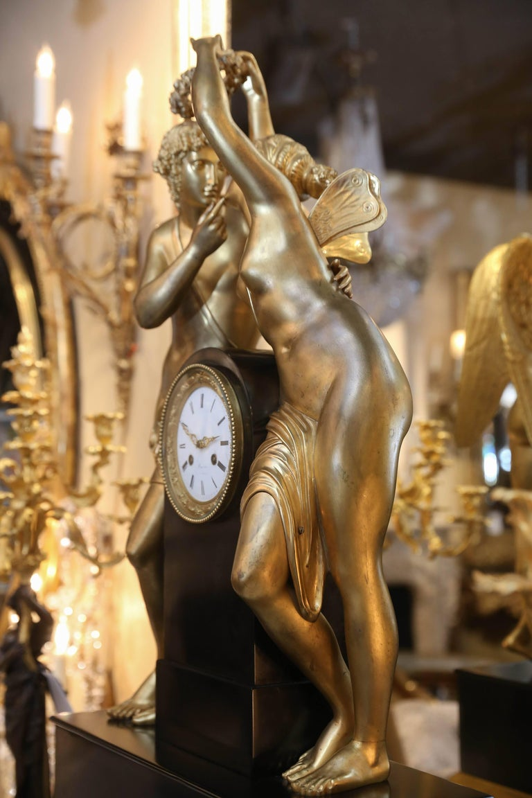 Cast Monumental Marble and Bronze Dore' Clock Adorned with Psyche and Amor Figures For Sale