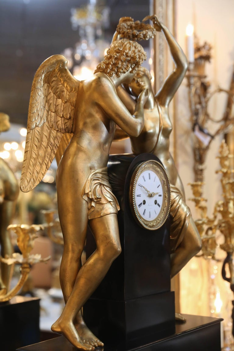 Monumental Marble and Bronze Dore' Clock Adorned with Psyche and Amor Figures In Excellent Condition For Sale In Houston, TX