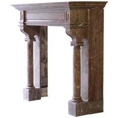 Monumental Marble Neo-Renaissance Fireplace Mantel