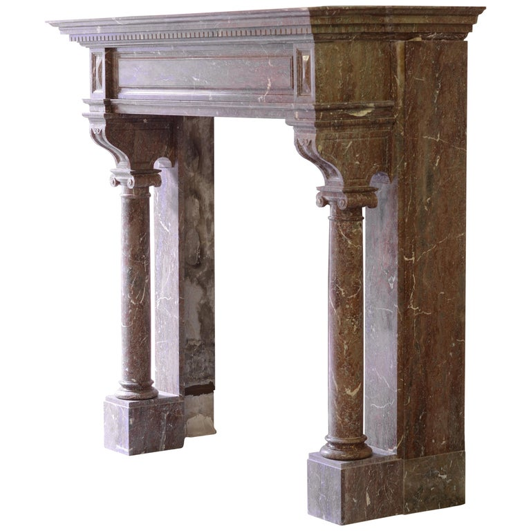monumental marble neo renaissance fireplace mantel for