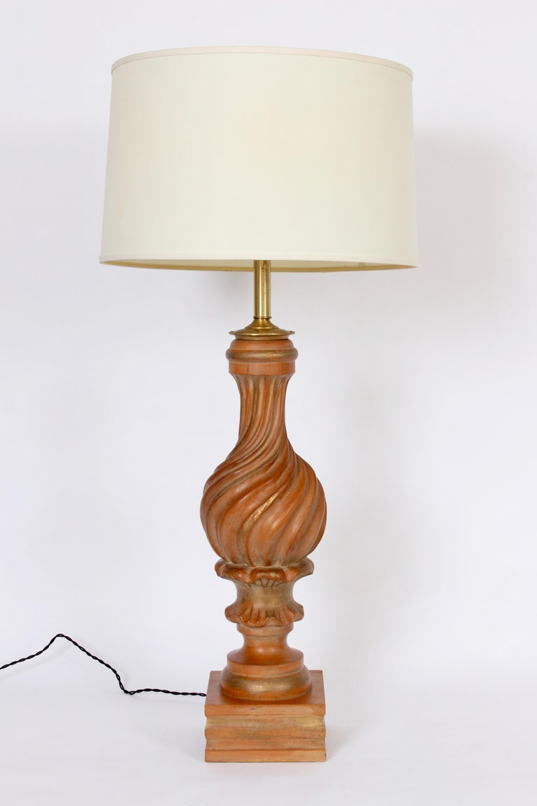 Monumental Marbro Lamp Company Hand Carved Giltwood Table Lamp For Sale 5