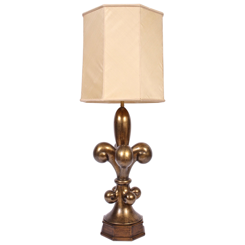 "Monumental Marbro Lamp Co. ""Fleur de Lis"" Brass Table Lamp Glass Shade, 1960s"