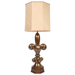 "Monumental Marbro Lamp Co. ""Fleur de Lis"" Brass Table Lamp Glass Shade, 1960s"