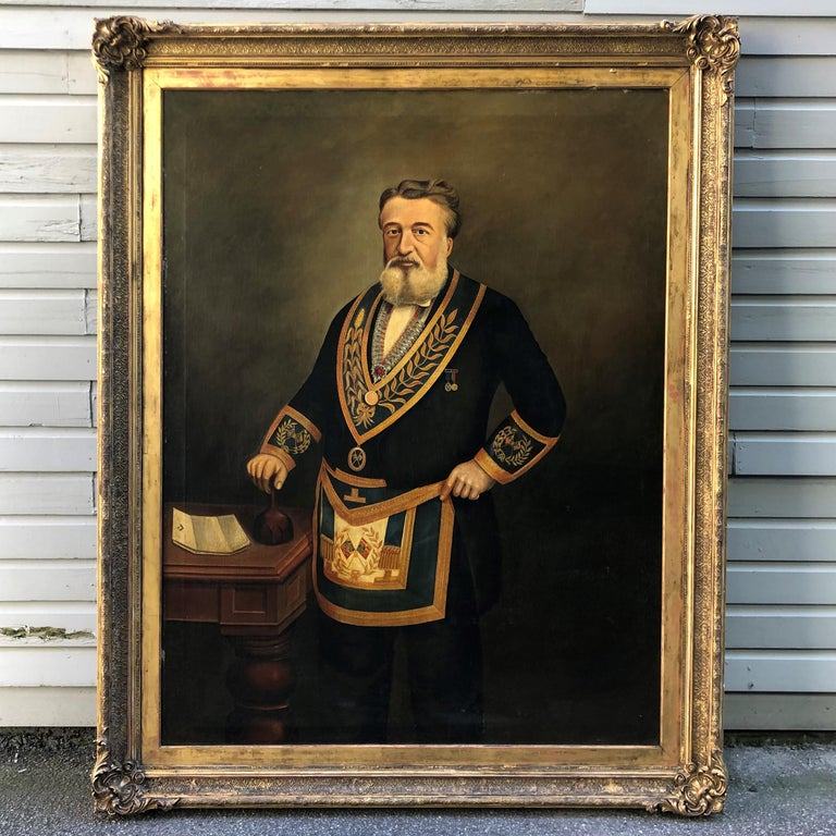 Monumental Mason Painting Signed W. Wadeson, 1887 For Sale 3