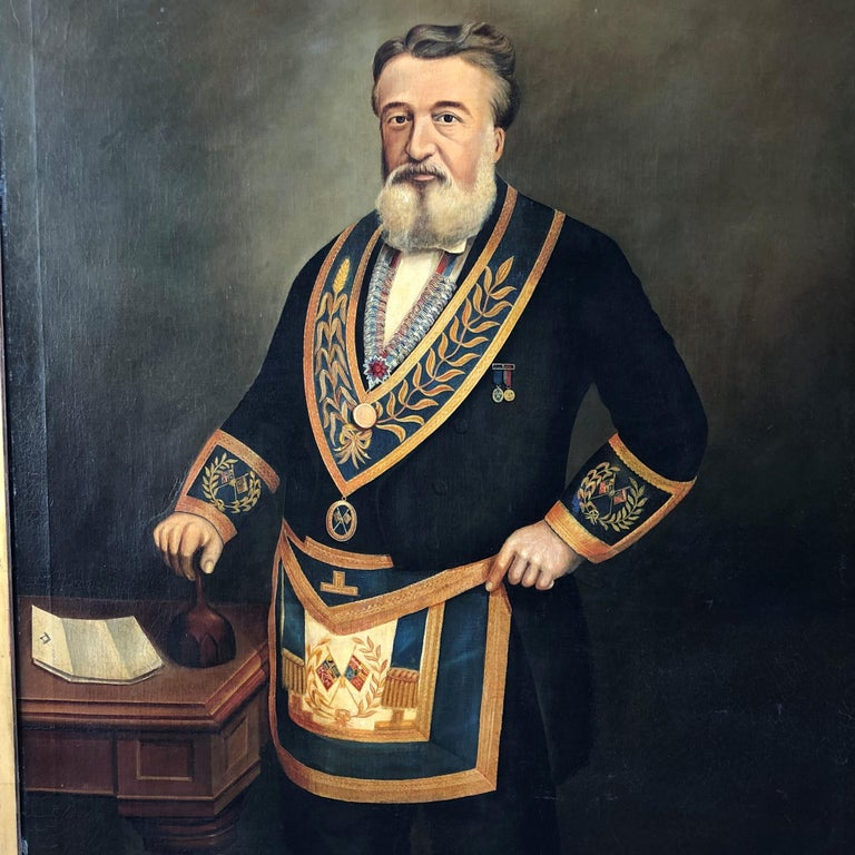 Monumental Mason painting signed W. Wadeson, 1887.  The frame of the panting would make a grand mirror.