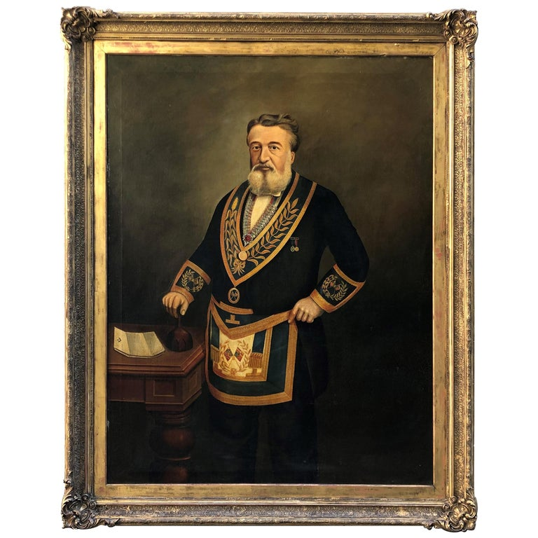 Monumental Mason Painting Signed W. Wadeson, 1887 For Sale