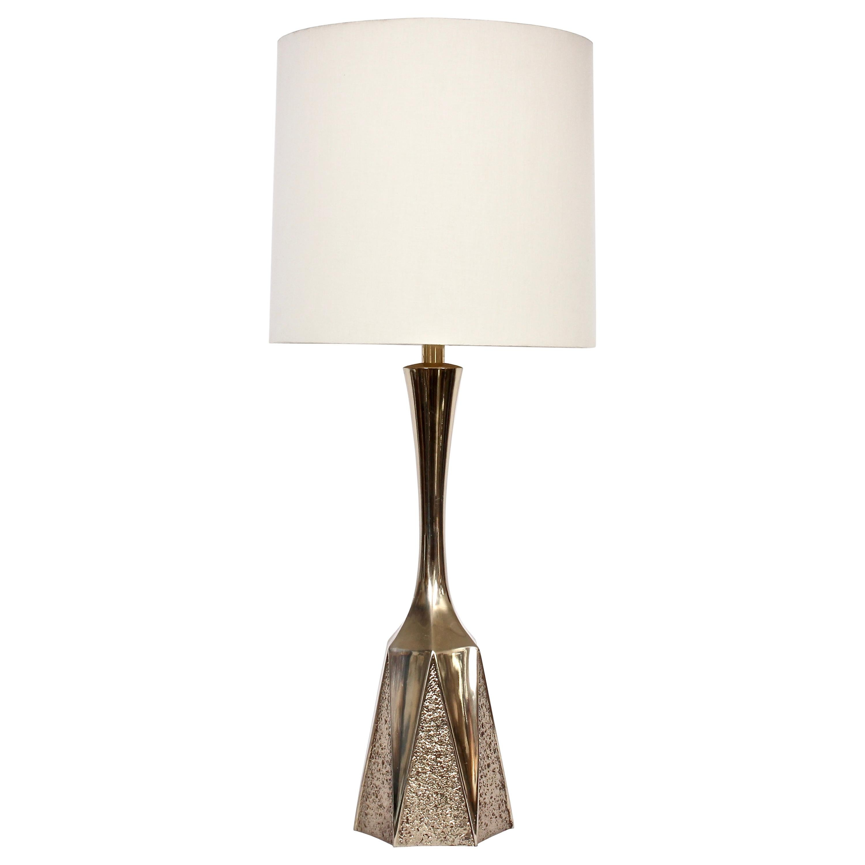Monumental Barr & Weiss for Laurel Lamp Co. Brutalist Brass Table Lamp