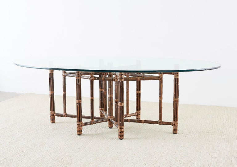 Monumental McGuire California Modern Rattan Oval Dining Table For Sale 6