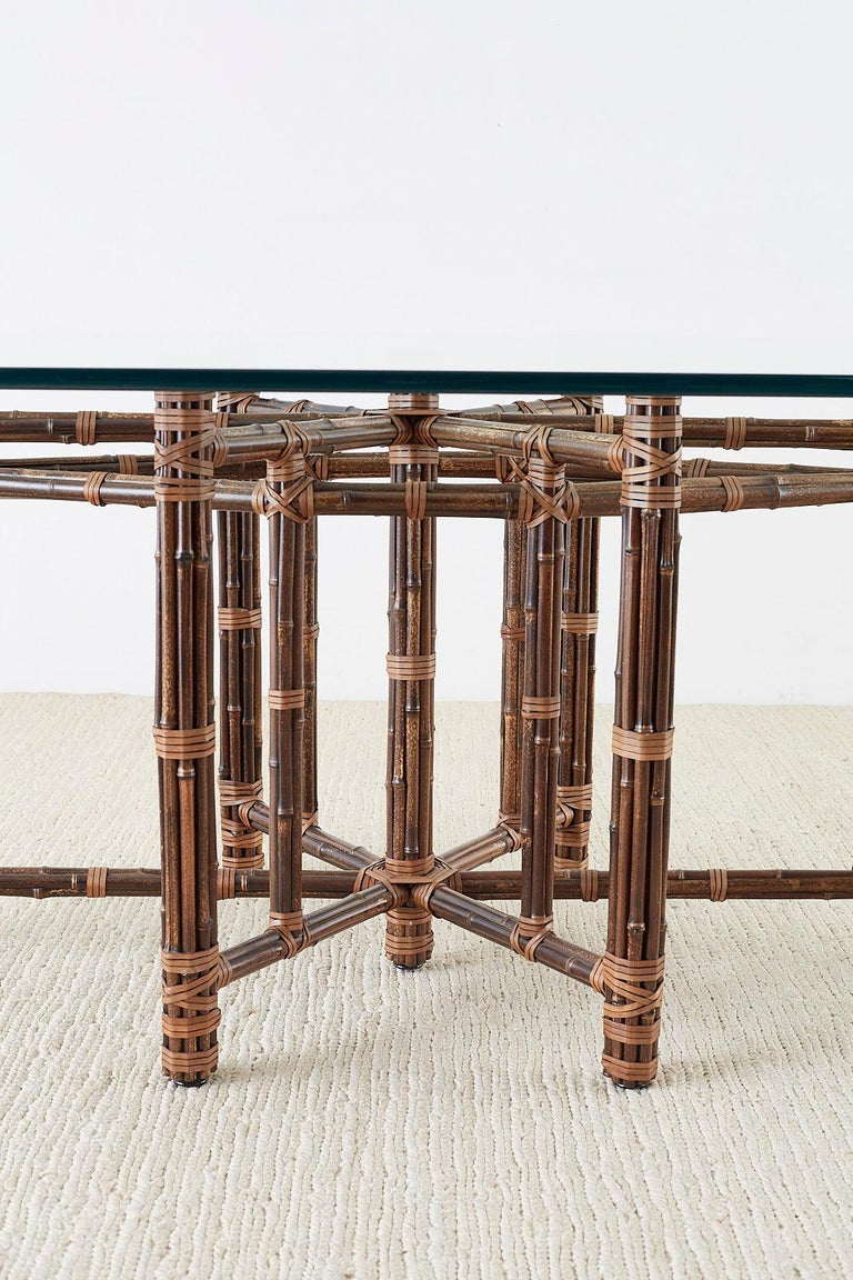 Monumental McGuire California Modern Rattan Oval Dining Table For Sale 11