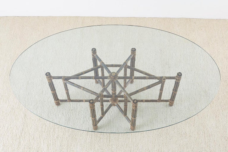 Organic Modern Monumental McGuire California Modern Rattan Oval Dining Table For Sale