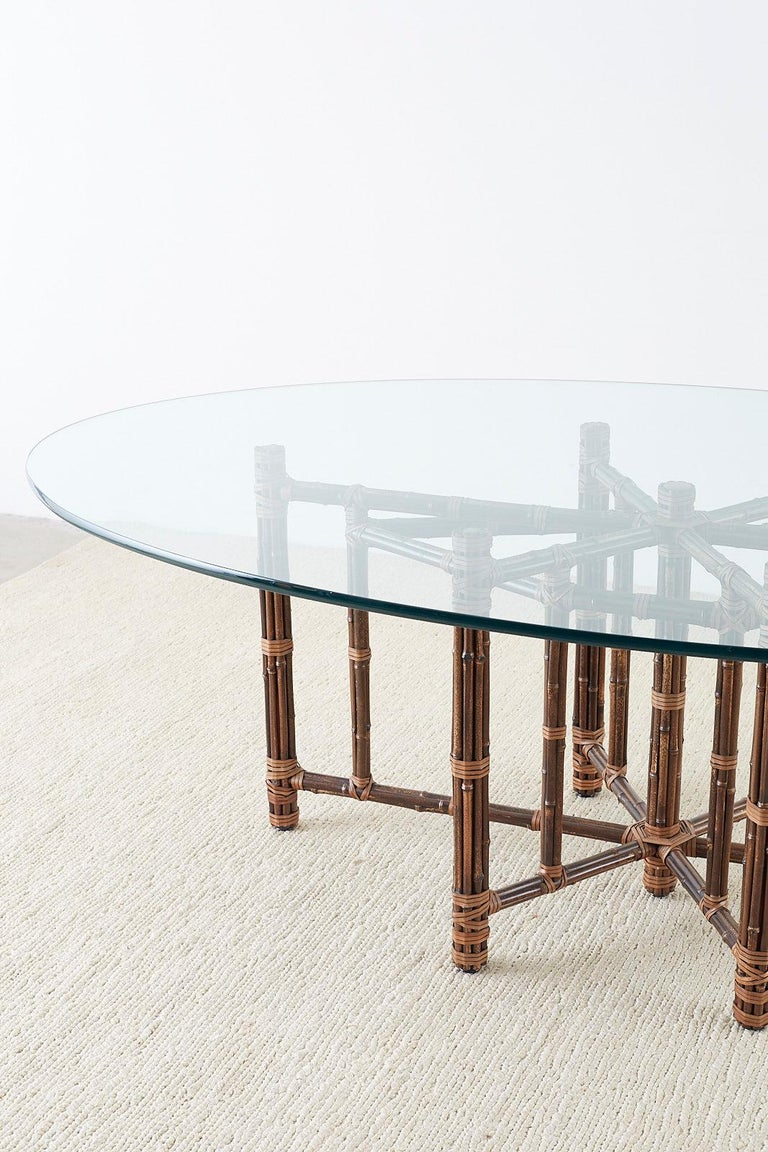American Monumental McGuire California Modern Rattan Oval Dining Table For Sale