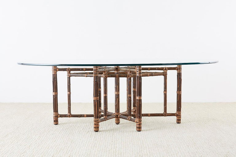 20th Century Monumental McGuire California Modern Rattan Oval Dining Table For Sale