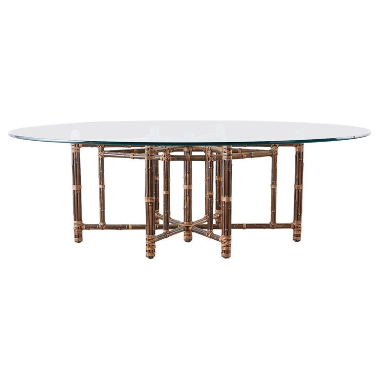 Monumental McGuire California Modern Rattan Oval Dining Table For Sale