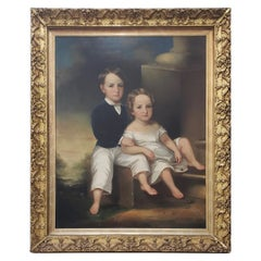 Monumental Mid-19th Century Oil Portrait of Two Siblings