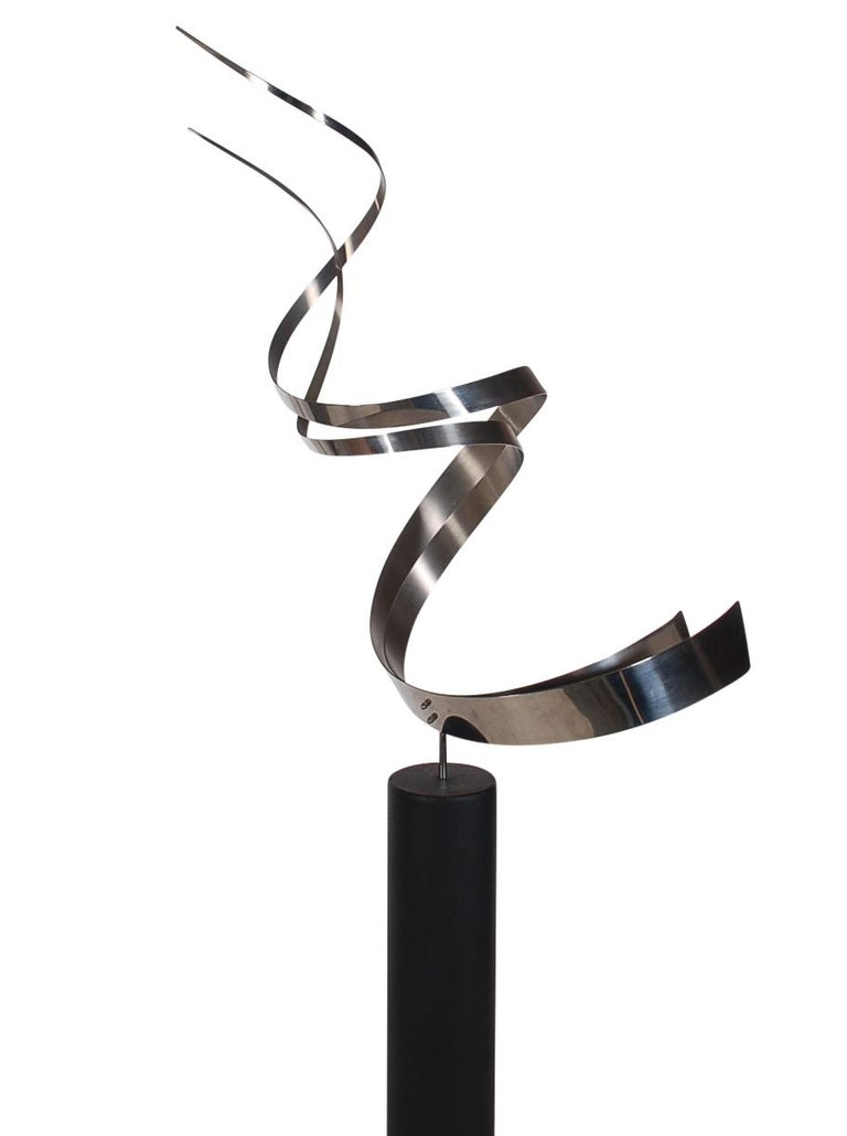 American Monumental Mid Century Abstract Modern Stainless Floor Sculpture by Curtis Jere For Sale