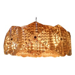 Monumental Mid-Century Amber Crystal & Brass Chandelier by Orrefors, Sweden