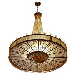 Monumental Midcentury Art Deco Style Ballroom Chandelier with Provenance