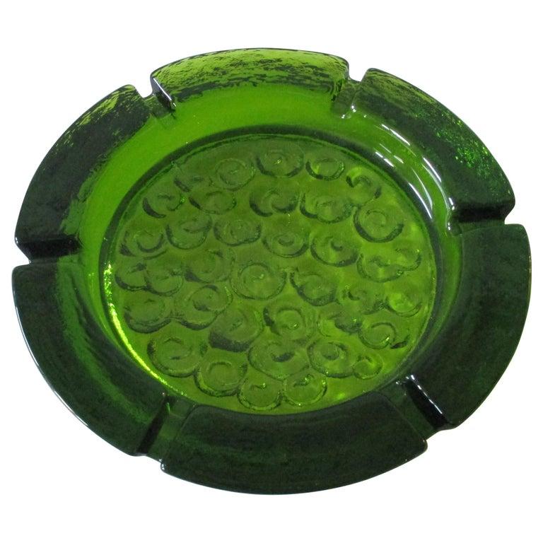 Large Blenko Emerald Green Glass Ashtray