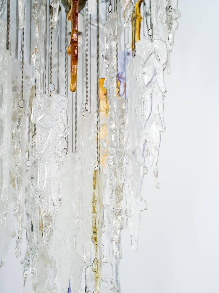 Italian Monumental Mid-Century Modern Murano Glass Chandelier by Mazzega, circa 1970s For Sale