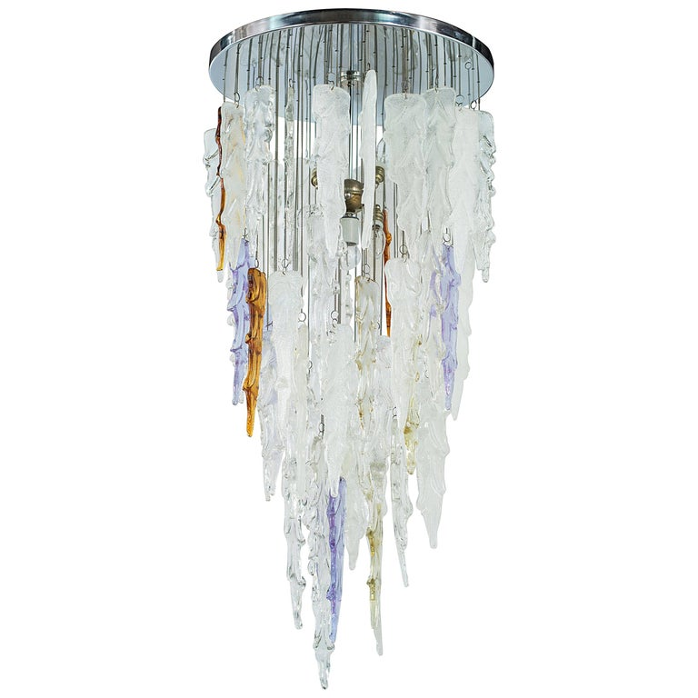 Monumental Mid-Century Modern Murano Glass Chandelier by Mazzega, circa 1970s For Sale
