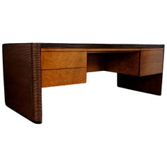 Monumental Mid-Century Modern Rattan Executive Desk by Karl Rausch for Baker