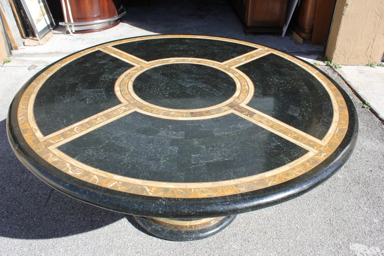 American Monumental Mid-Century Modern Smith Tessellated Stone Round Dining Table, 1970s For Sale