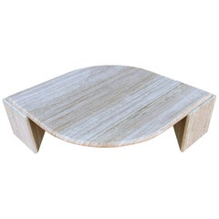 Monumental Midcentury Postmodern Italian Travertine Marble Coffee Table