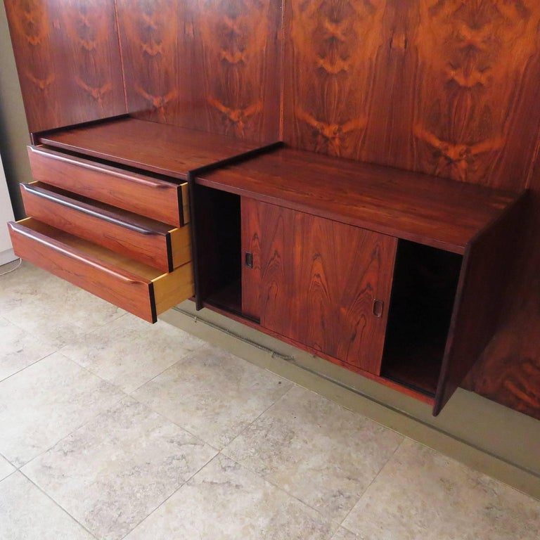 Mid-Century Modern Monumental Midcentury Rosewood Wall Display Unit For Sale