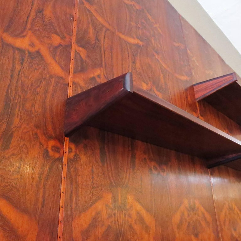 Lacquered Monumental Midcentury Rosewood Wall Display Unit For Sale