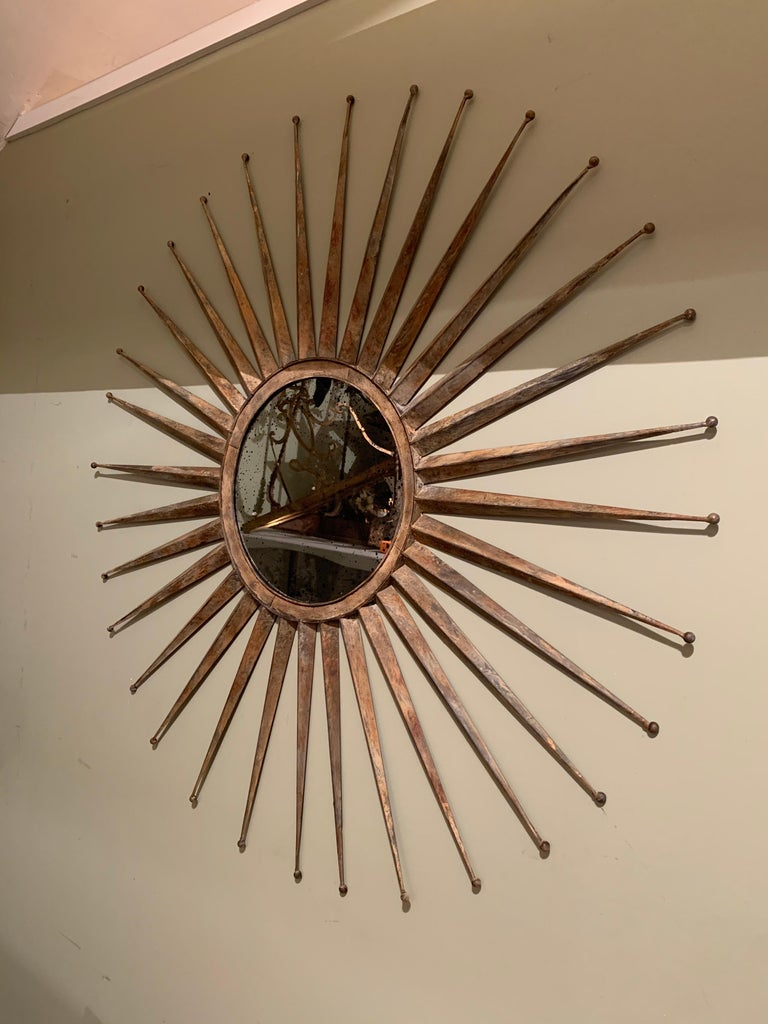 Monumental Mid Century Rustic Metal Starburst Mirror 8