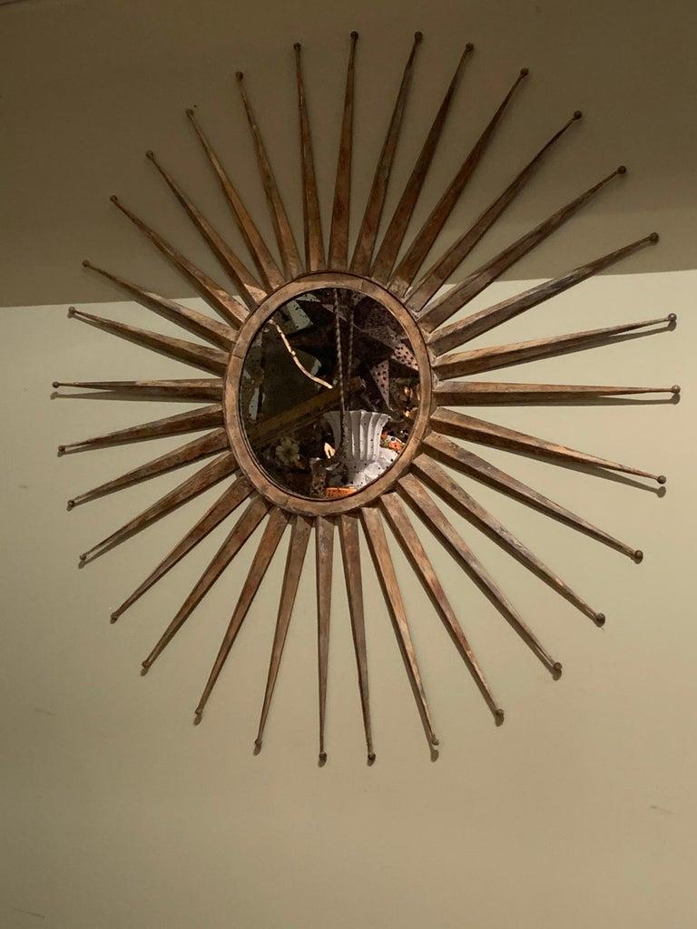 Monumental Mid Century Rustic Metal Starburst Mirror 9