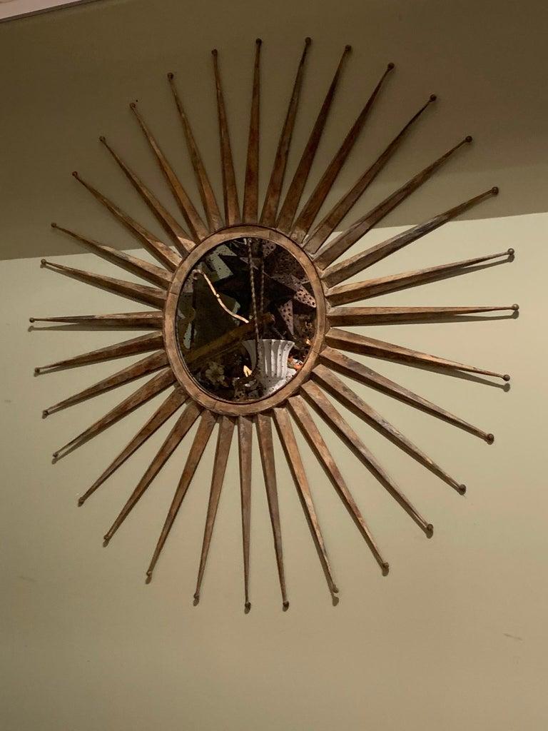Monumental Mid Century Rustic Metal Starburst Mirror 10