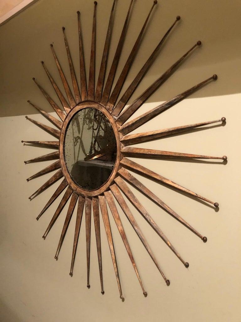 Mid-Century Modern Monumental Mid Century Rustic Metal Starburst Mirror