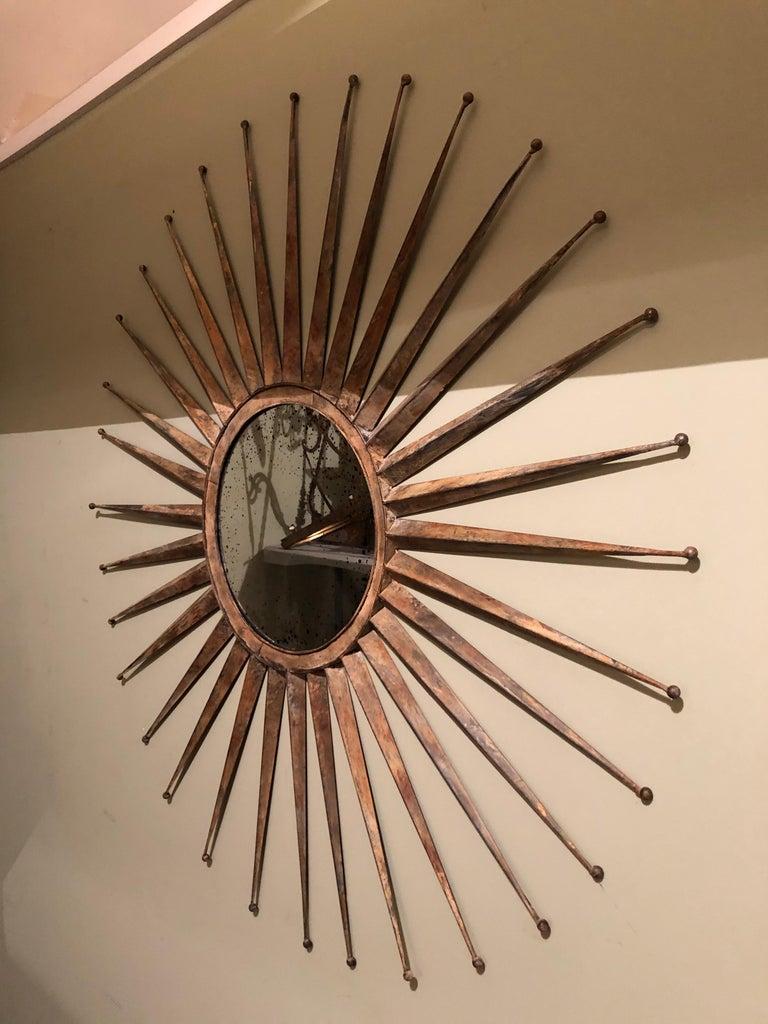 Monumental Mid Century Rustic Metal Starburst Mirror 1