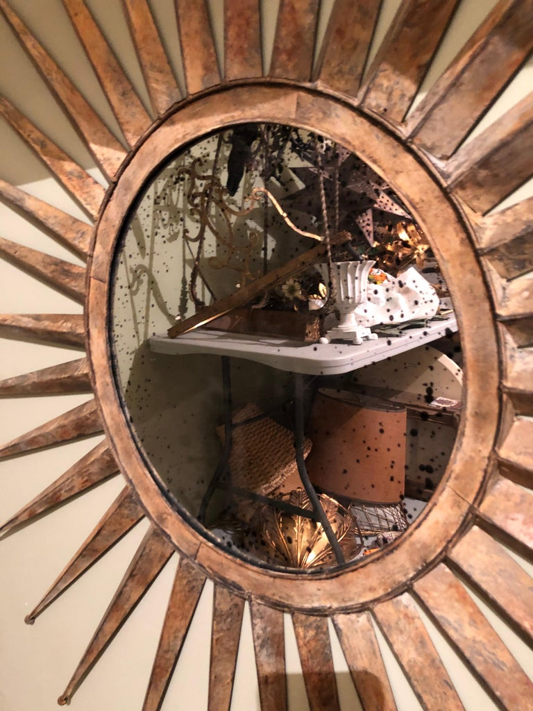 Monumental Mid Century Rustic Metal Starburst Mirror 2