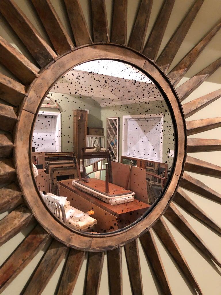 Monumental Mid Century Rustic Metal Starburst Mirror 3