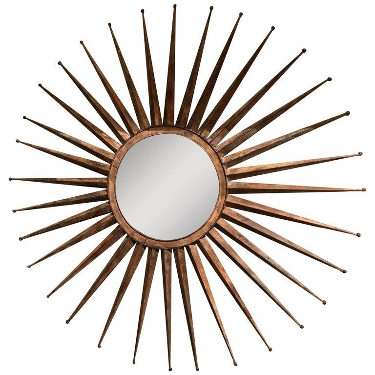 Monumental Mid Century Rustic Metal Starburst Mirror