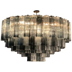 Monumental Midcentury Venini Grey and Clear Glass Chandelier