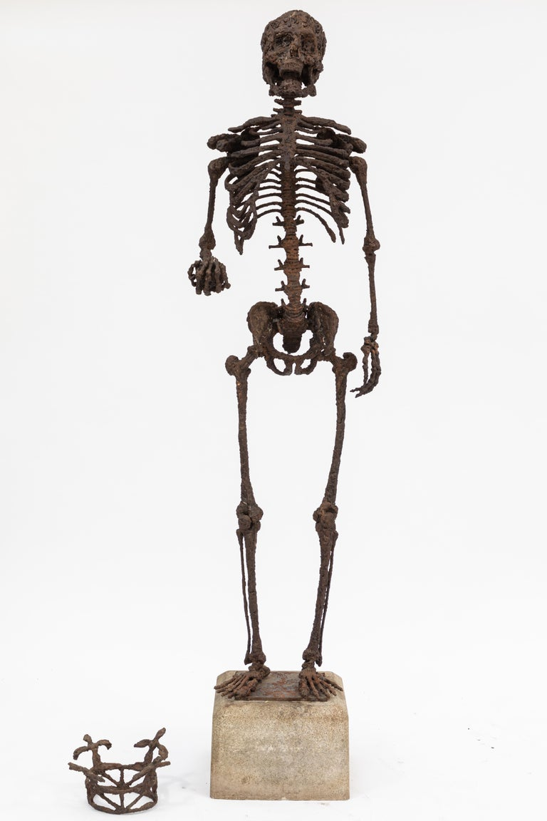 Monumental Midcentury Wrought Iron Skelton Statue For Sale 2