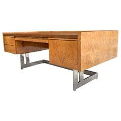 Monumental Midcentury Cantilevered Burl Wood Desk