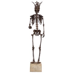 Monumental Midcentury Wrought Iron Skelton Statue