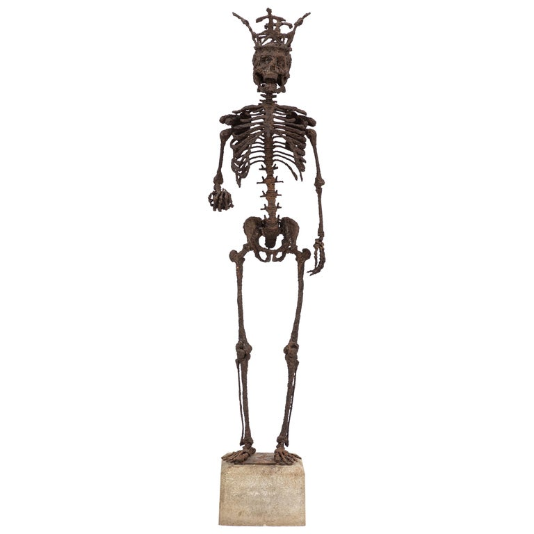 Monumental Midcentury Wrought Iron Skelton Statue For Sale